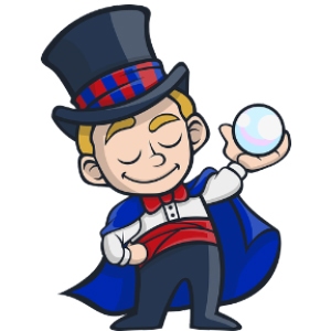 Magician with crystal ball for a post on memory tricks