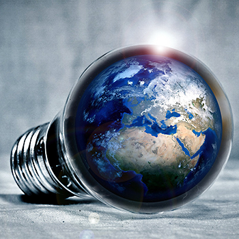Image of the world in a lightbulb