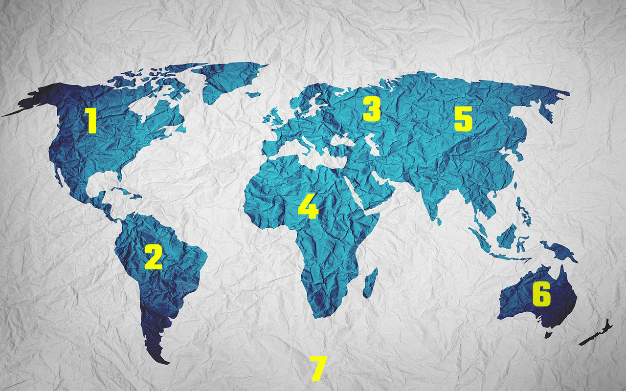 The continents numbered for committing to memory