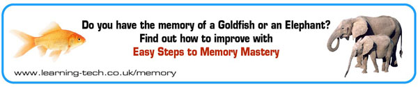 Image with gold fish and elephants promoting Phil Chambers' memory improvement websit