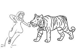 A nun attacking a tiger to show how to use the Major System to memorize a longer number