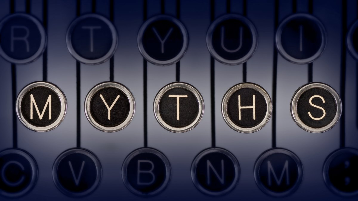 "Image of a typewriter with keys spelling ""myths"""
