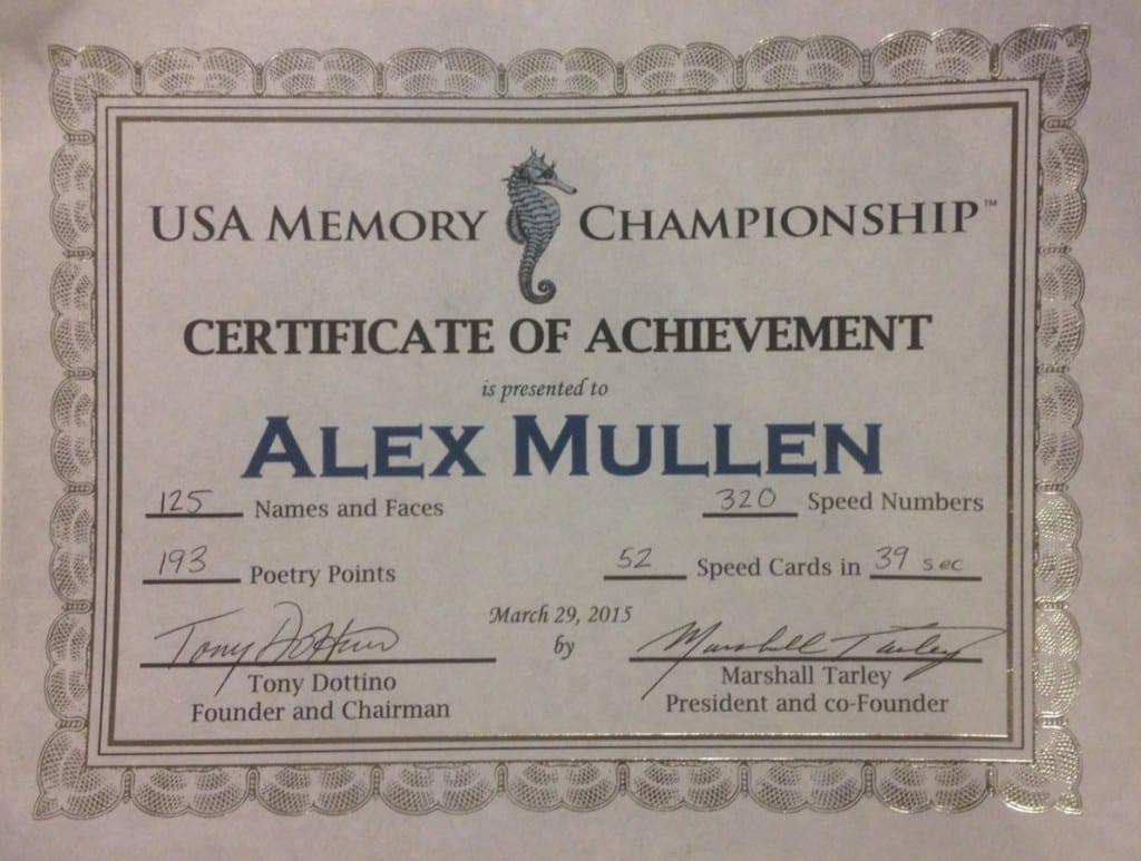 Alex Mullen's USA Memory Championship Certificate of Achievement
