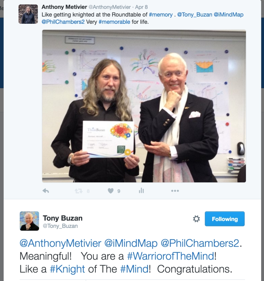 Tony buzan awards Anthony Metivier Warrior of the Mind