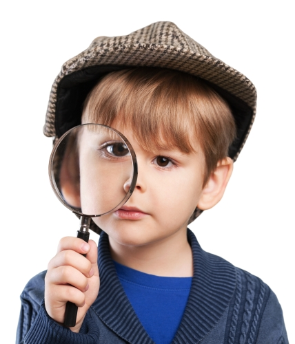 Image of young child dressed as Sherlock Holmes to express the problem with using brain games