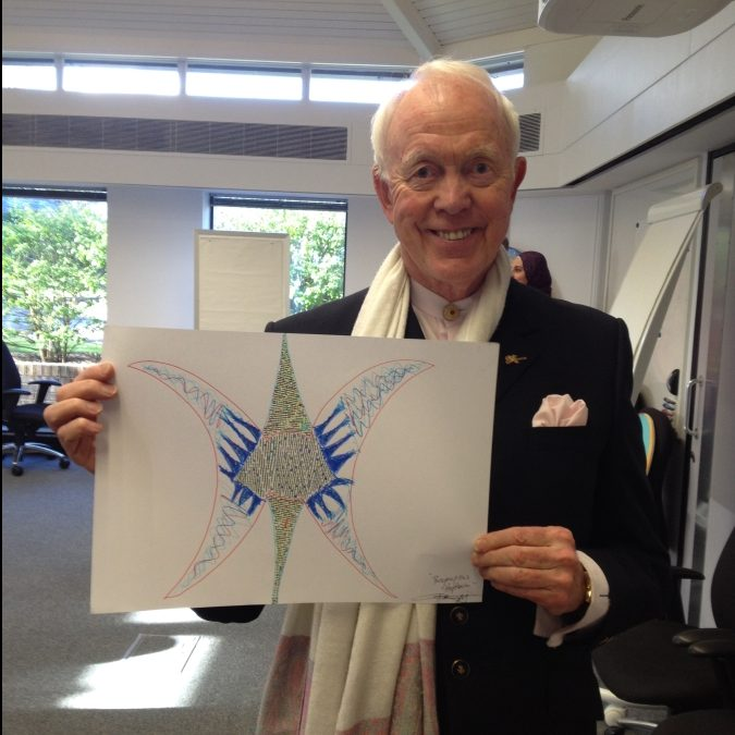 Tony Buzan with butterfly artwork by Anthony Metivier