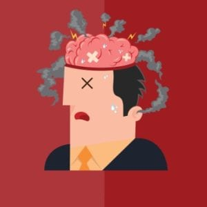 Illustration of man with brain on fire to illustrate digital amnesia
