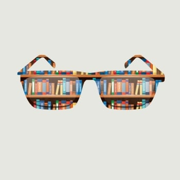Image to express eidetic memory with books reflected in sunglasses