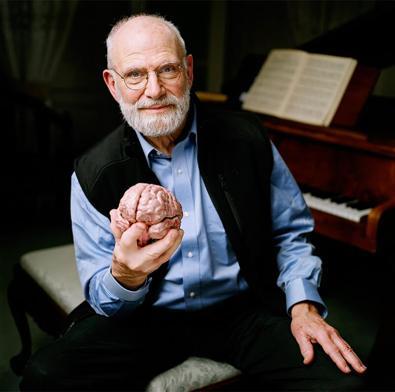 Oliver Sacks holding a model brain