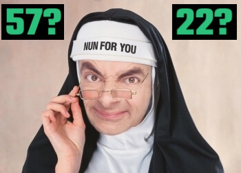 Rowan Atkinson dressed as a nun to illustrate using the Major Sysem to memorize numbers and create a Person Action Object system
