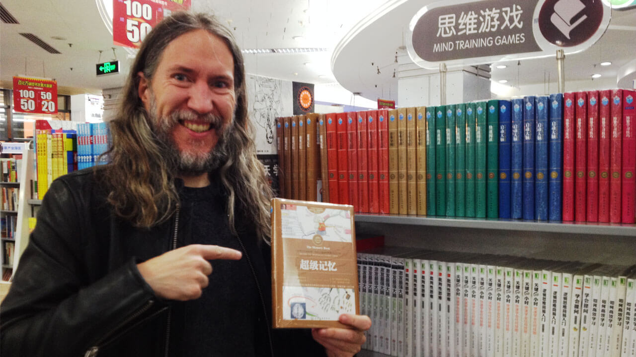 Anthony Metivier with Tony Buzan Books on Mind Mapping In Beijing