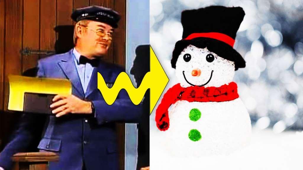 Major System Illustration of Mailman Shoving Envelopes Into A Snowman