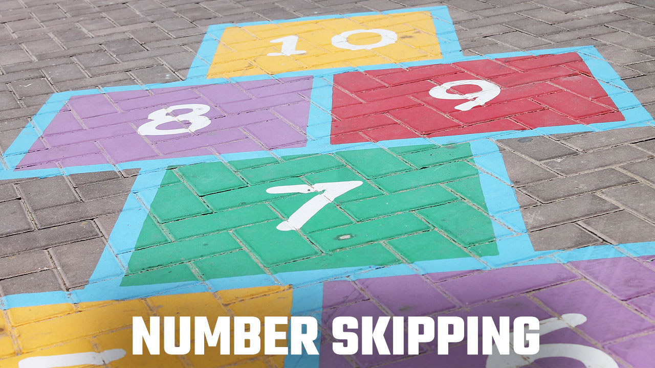 Hopscotch to illustrate the Number Skipping Visualization Exercise
