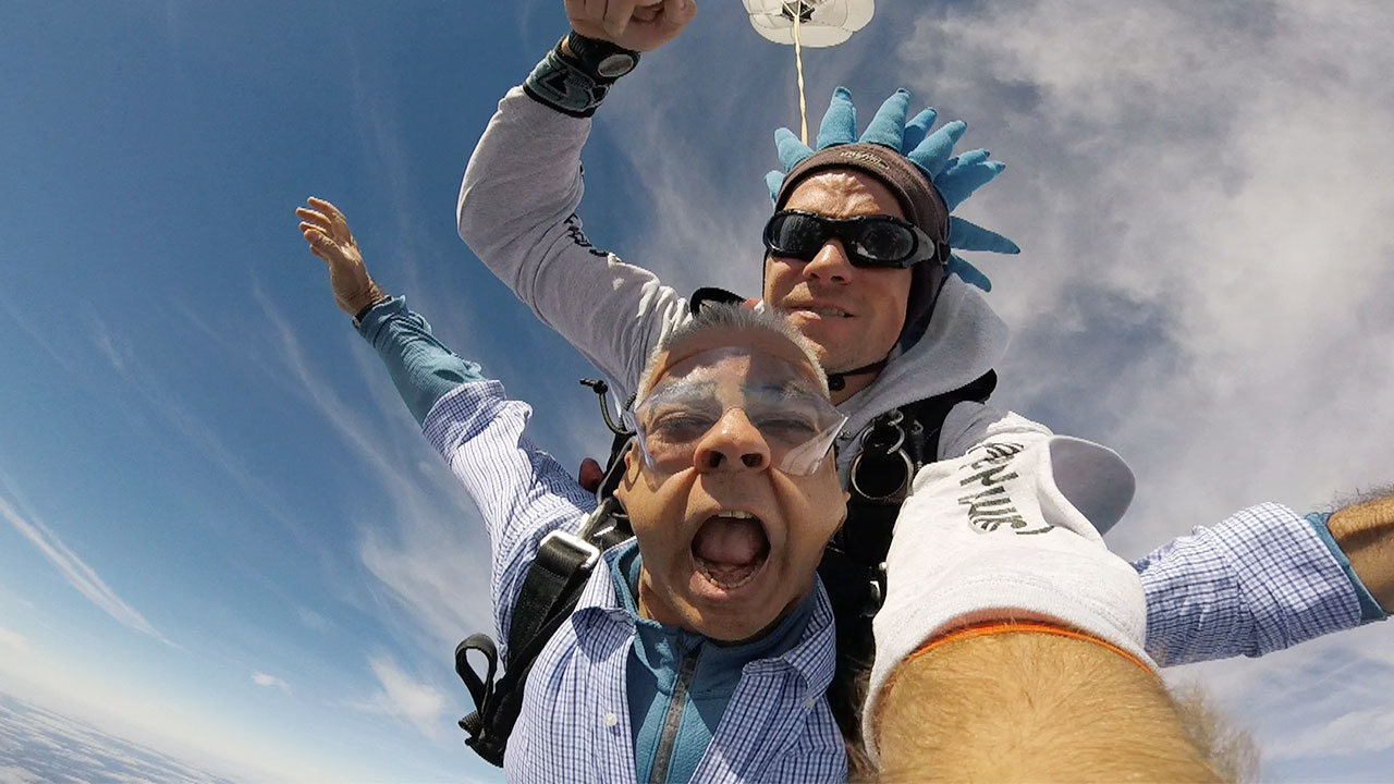 Picture of Sunil Khatri Skydiving Useful for a Mnemonic Example Bridging Figur