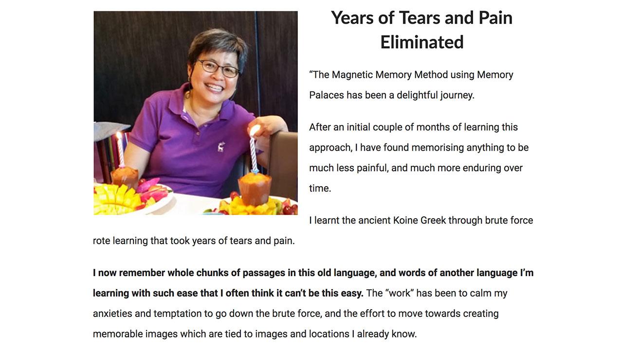 Jeannie Koh Testimonial about memorizing scripture in Greek