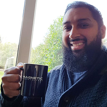 Picture of Mohammad Kolia with his Magnetic Memory Method cup