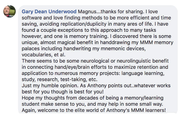 Gary Dean Underwood Magnetic Memory Method Testimonial on Why Note Taking Helps Him Complete the Memory Course