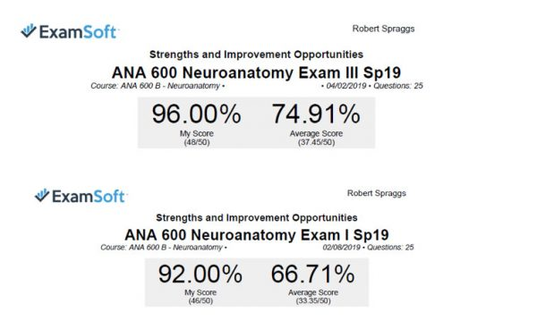 Robert Spraggs scores on Neuroanatomy Exam