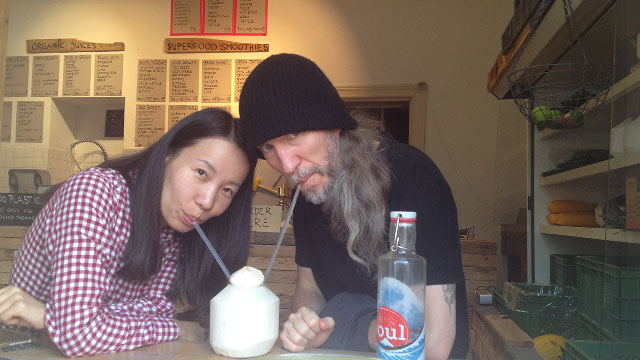 Anthony Metivier on a date to drink coconut milk