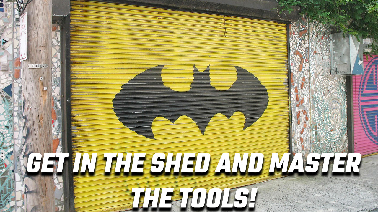 Image of a garage with the Batman logo to illustrate the need to master mnemonic devices