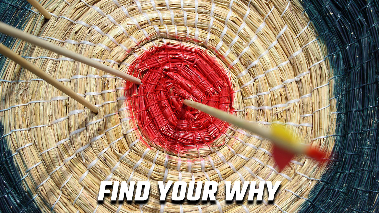 Image of an arrow hitting the bullseye to illustrate the need to find your why