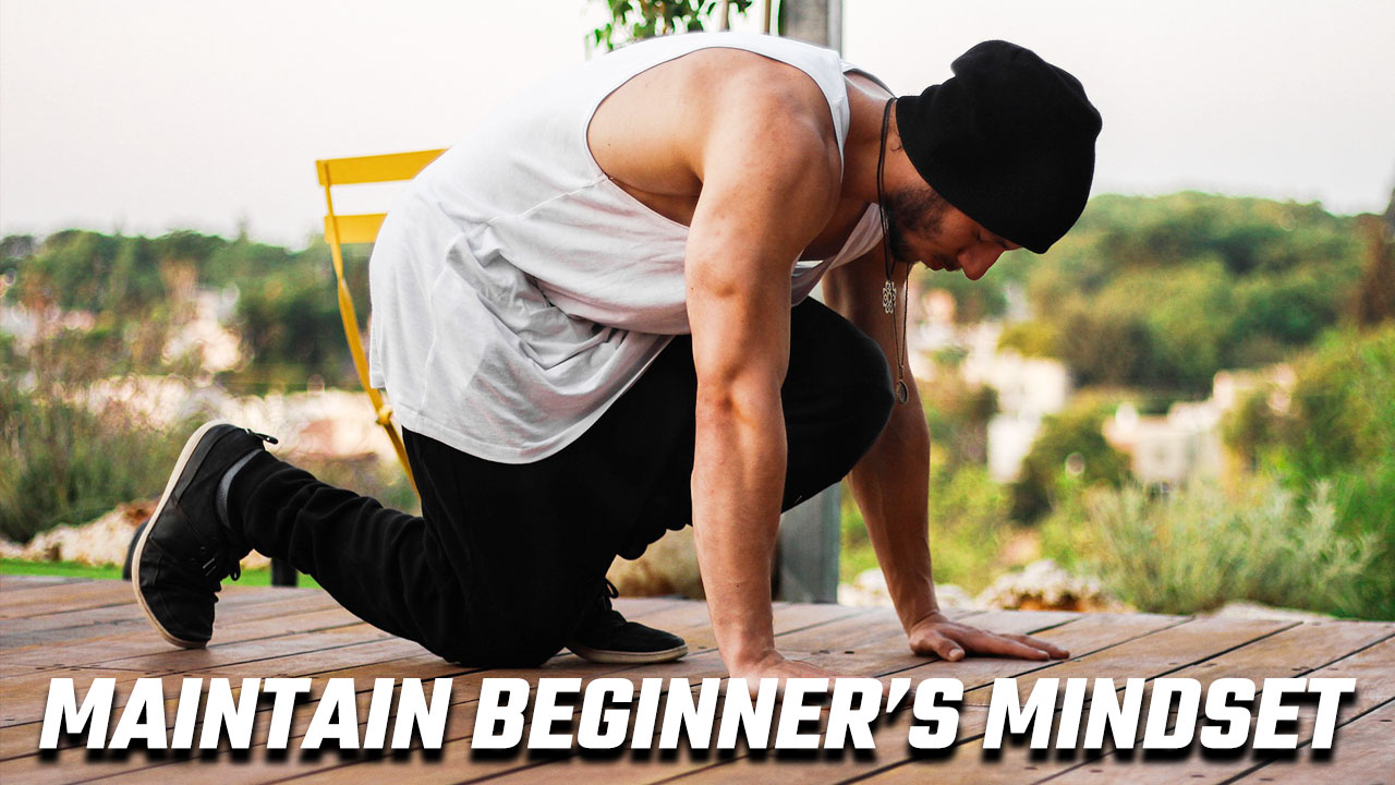 Image of someone preparing to do pushups and maintaining beginners mindset