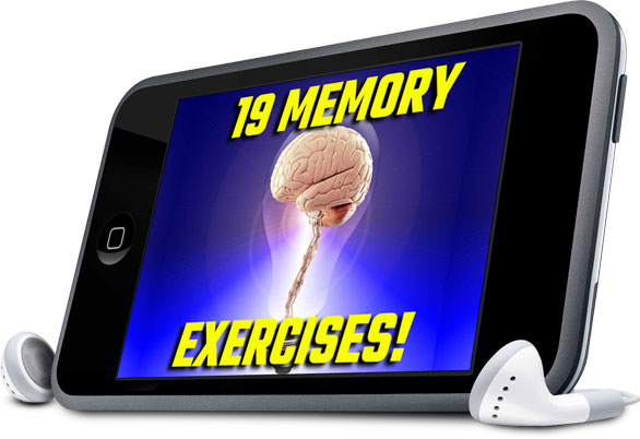 19 Memory Exercises Audio Progam product image with ear buds