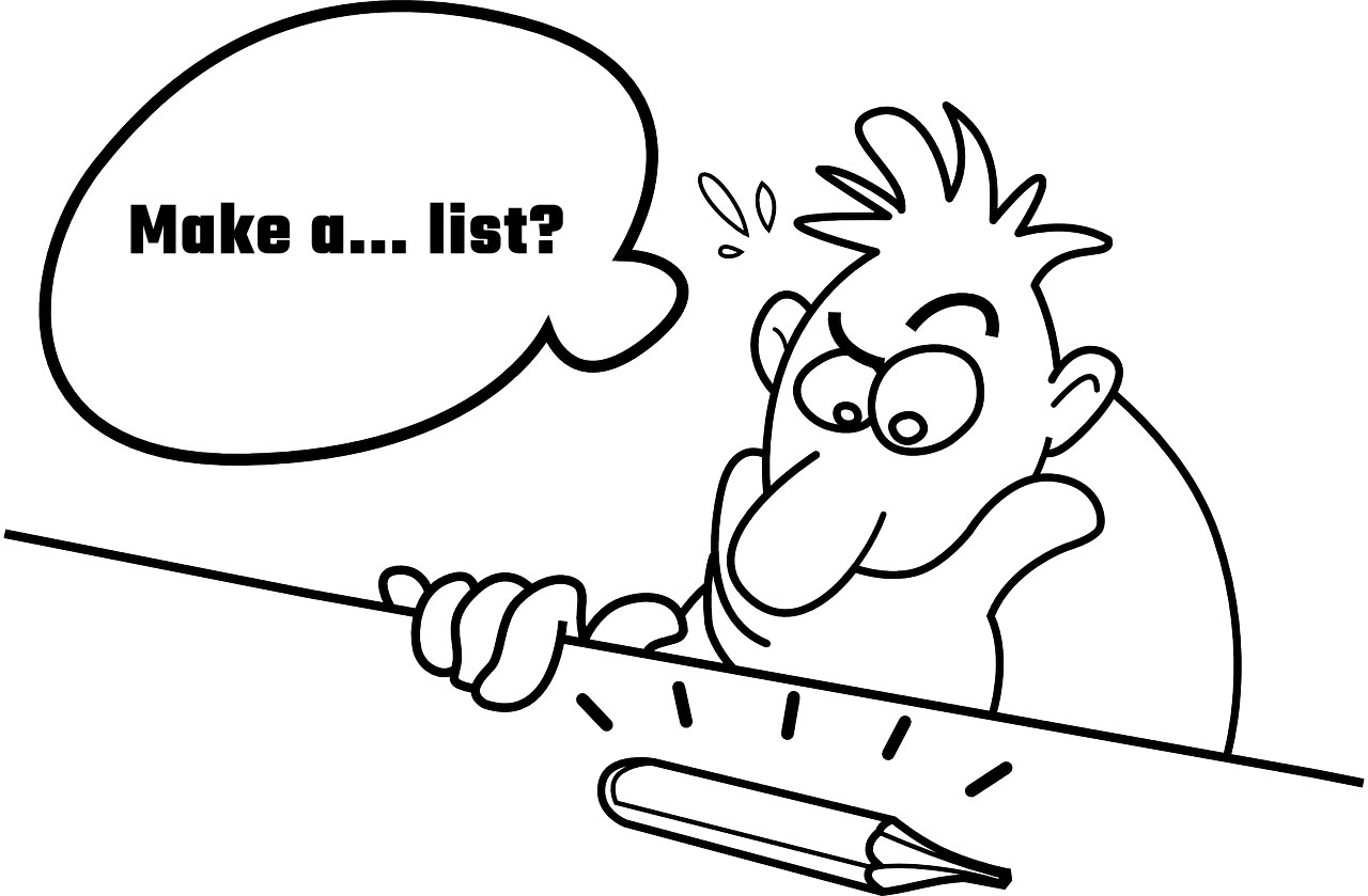 Cartoon of a man overthinking making a simple PAO list