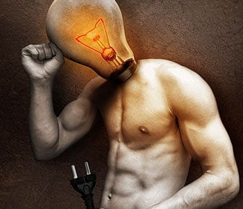 Image of a man with a lightbulb head overthinking