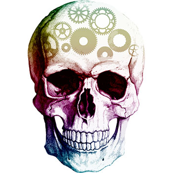 Image of a skull with gears winding away to illustrate the problem of overthinking the Memory Palace technique