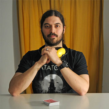 Portrait of Memory Athlete Braden Adams with a deck of cards