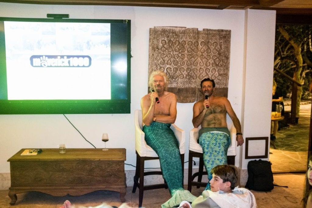 Yanik Silver and Richard Branson dressed as Mermen for Maverick 1000