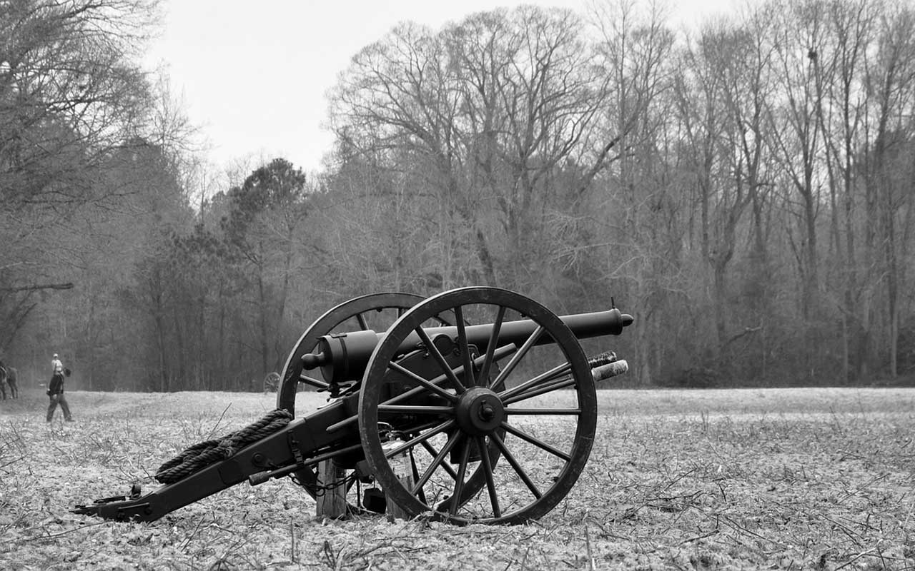 A cannon on a battlefield; a part of what you might learn about the Civil War, making it an explicit memory.