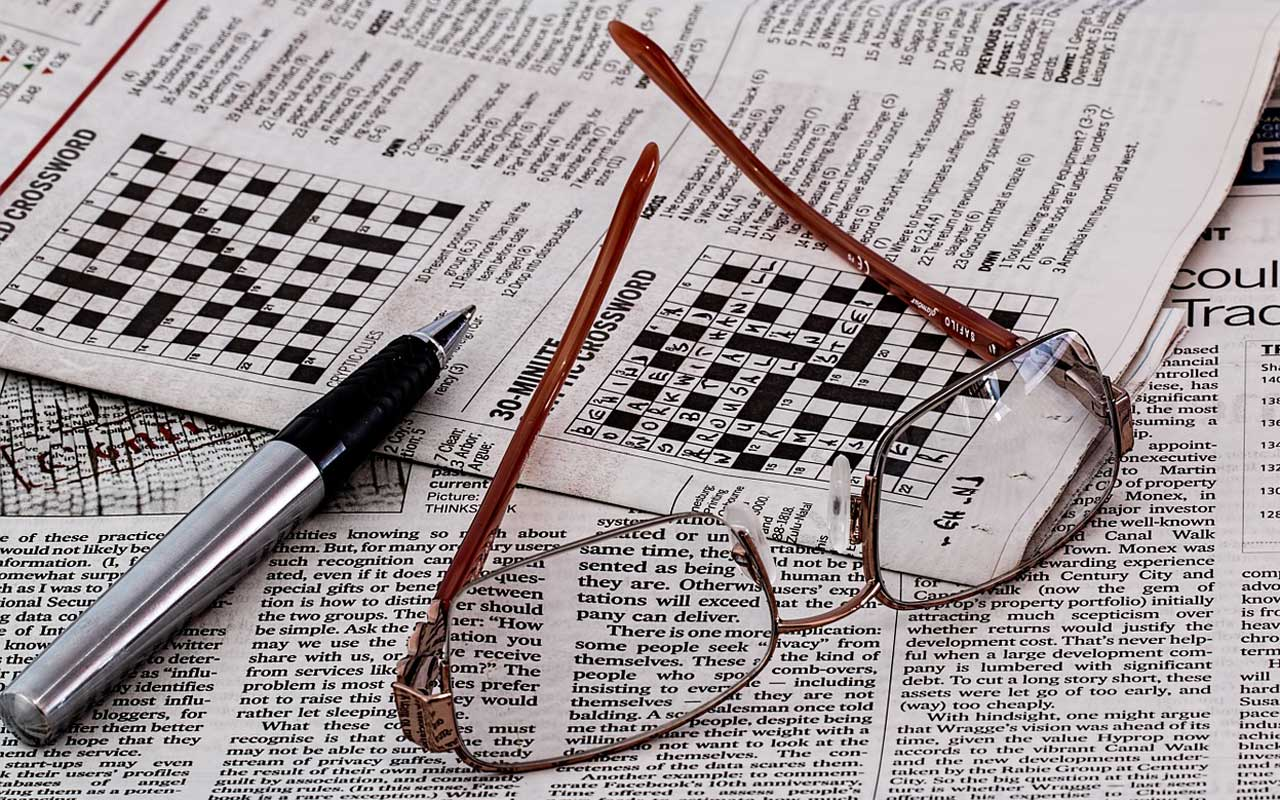 Crossword puzzle, a type of memory game.