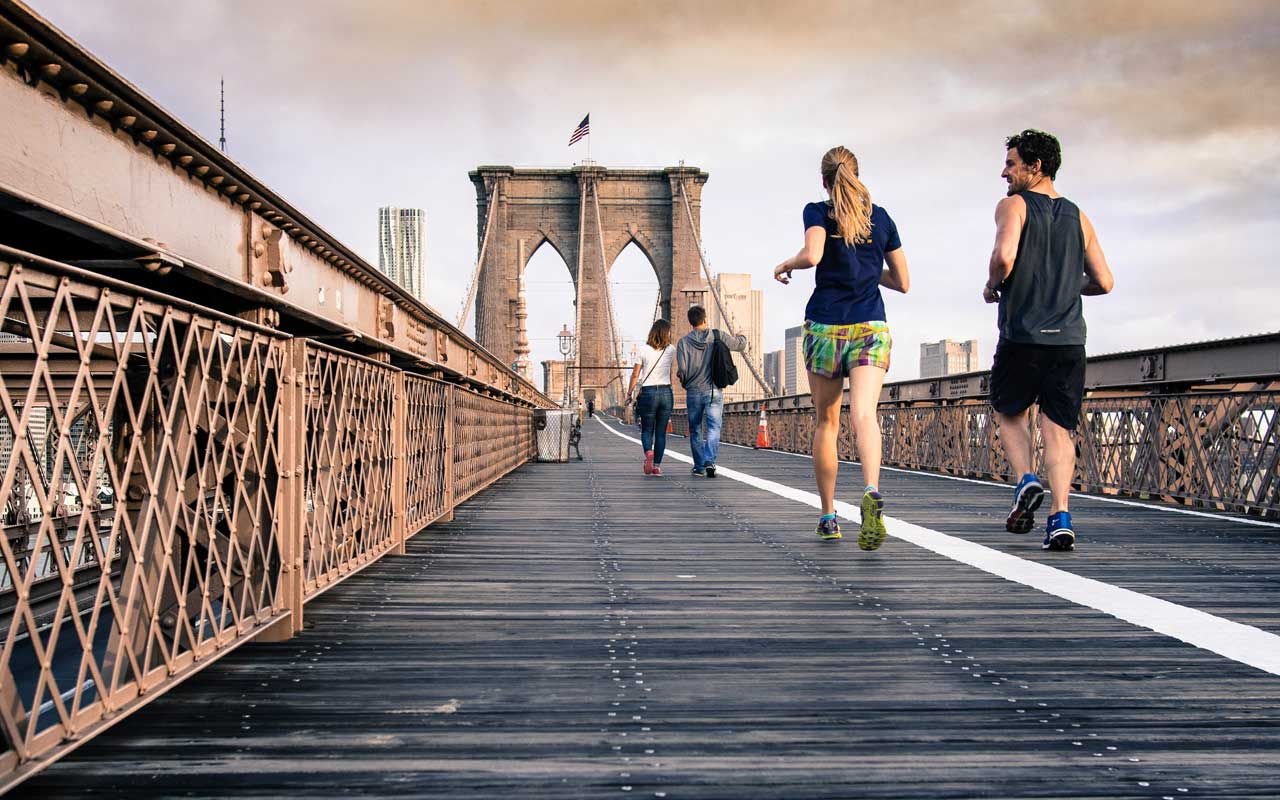 Runners on a bridge, improving their selective attention.