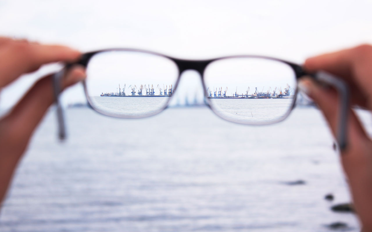 Selective visual attention, like this city view through a pair of eyeglasses
