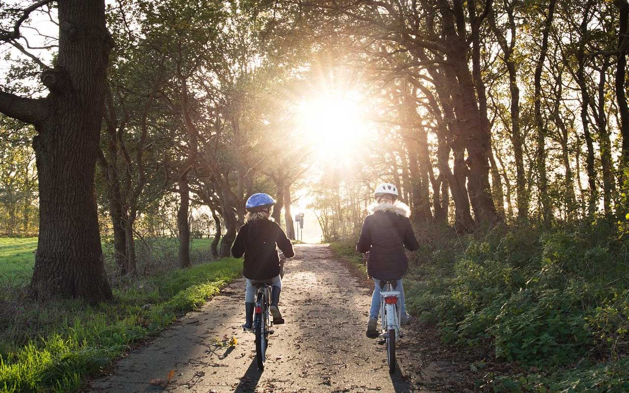 Two children ride their bikes into the setting sun in a forested area.
