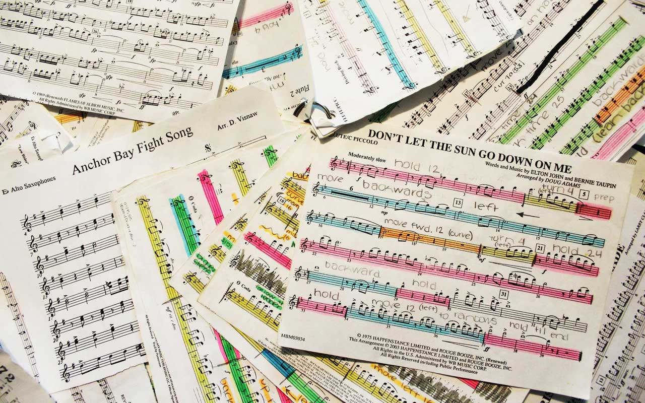 A pile of highlighted sheet music; a tactic for learning how to remember a song.