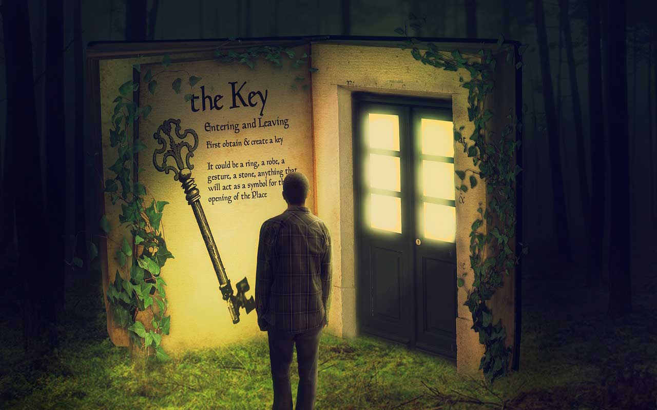 An illustration of a man standing at a doorway looking at a key, like the visuals you can use to learn how to memorize lyrics.