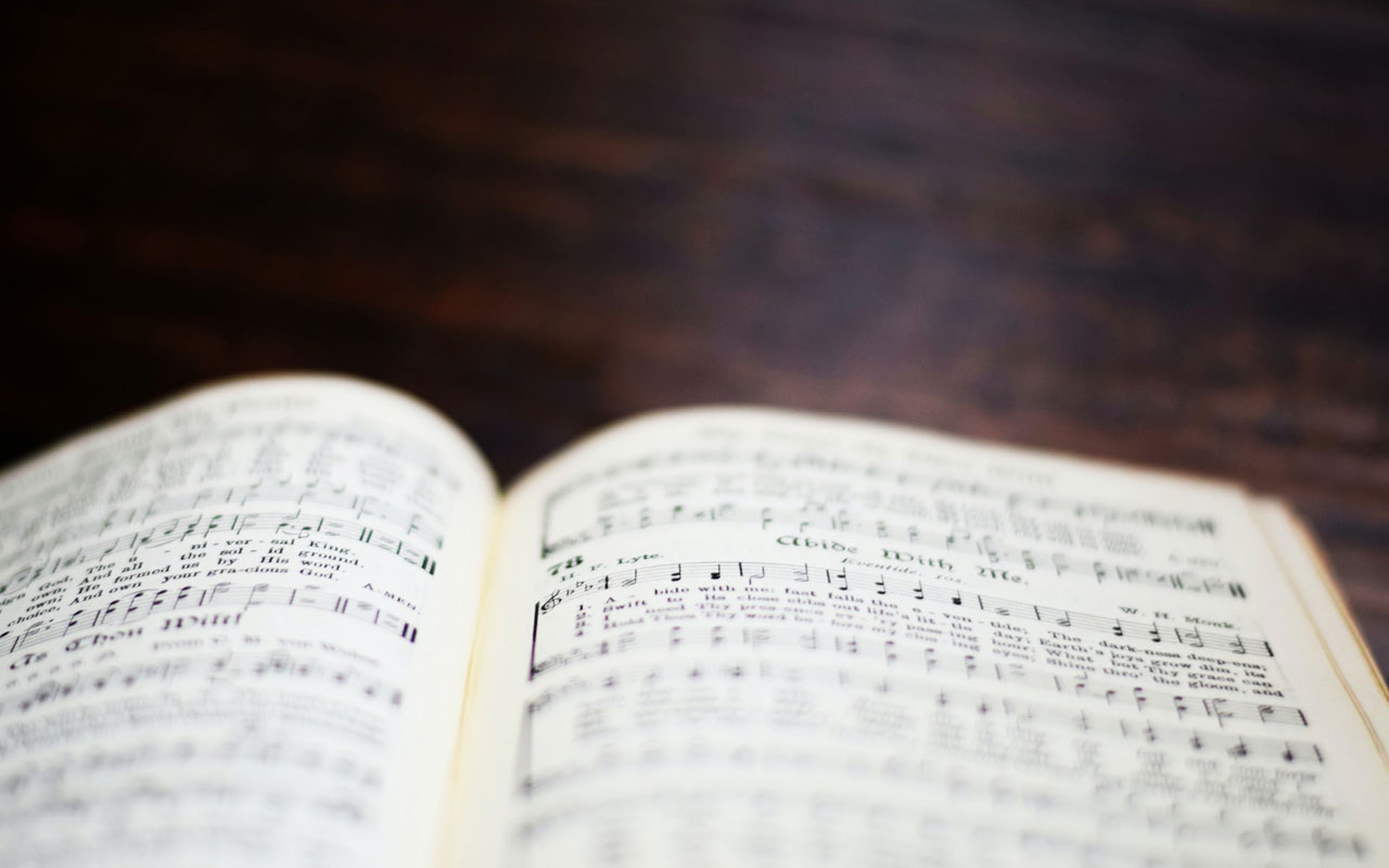 A book of sheet music, helpful when you're learning how to memorize songs.