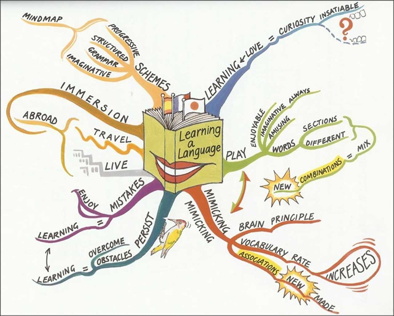 ind map from the Tony Buzan Learning Center, regarding learning a language.
