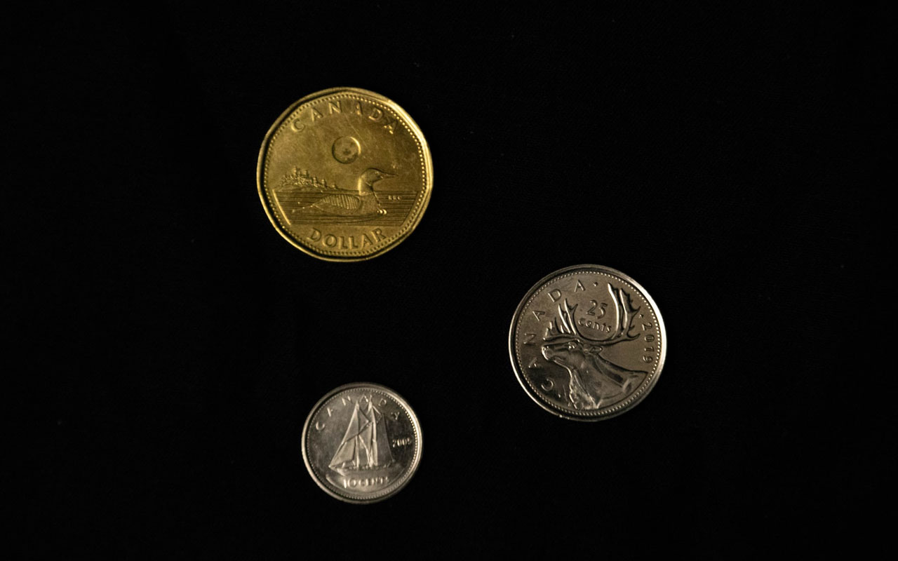 Three Canadian coins against a black background.