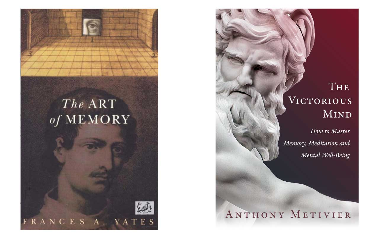 Book covers for The Art of Memory and The Victorious Mind.