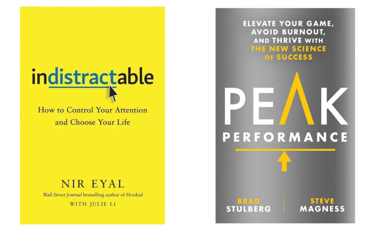 Book covers of Indistractable and Peak Performance.