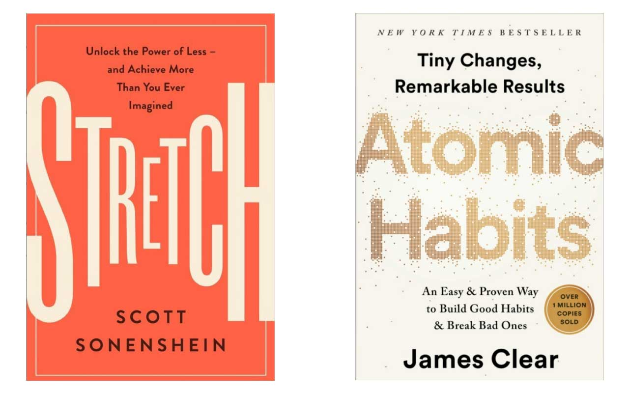Book covers for Stretch and Atomic Habits.
