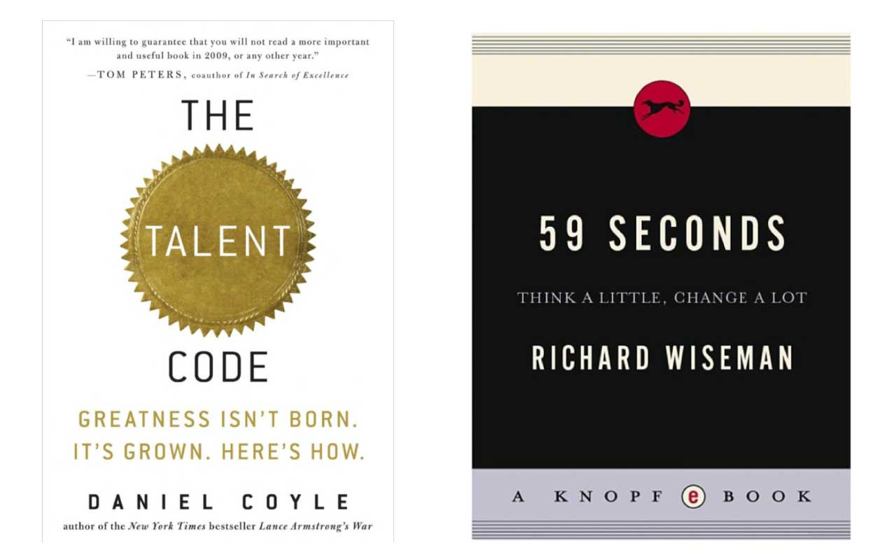 Book covers for The Talent Code and 59 Seconds.