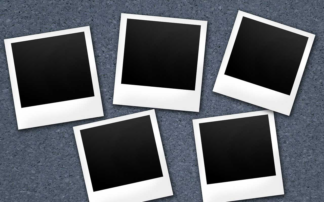 Blank polaroids; a visual depiction of long-term memory loss.