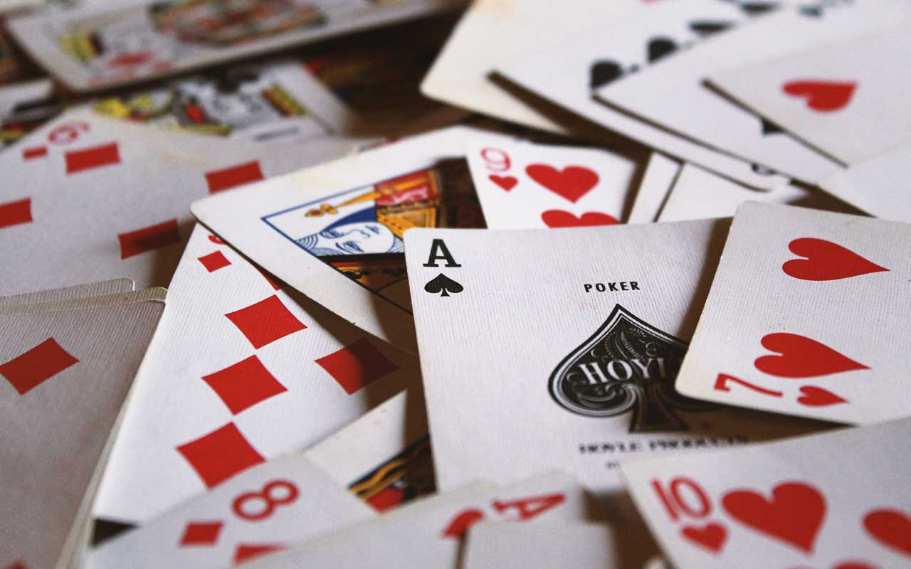 A pile of playing cards. Playing card games can help reduce long-term memory loss.