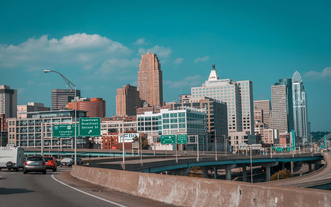 A photo taken from the interstate heading into downtown Cincinnati, Ohio. Novel experiences like driving through a new city for the first time may be helpful to develop memory strategies.