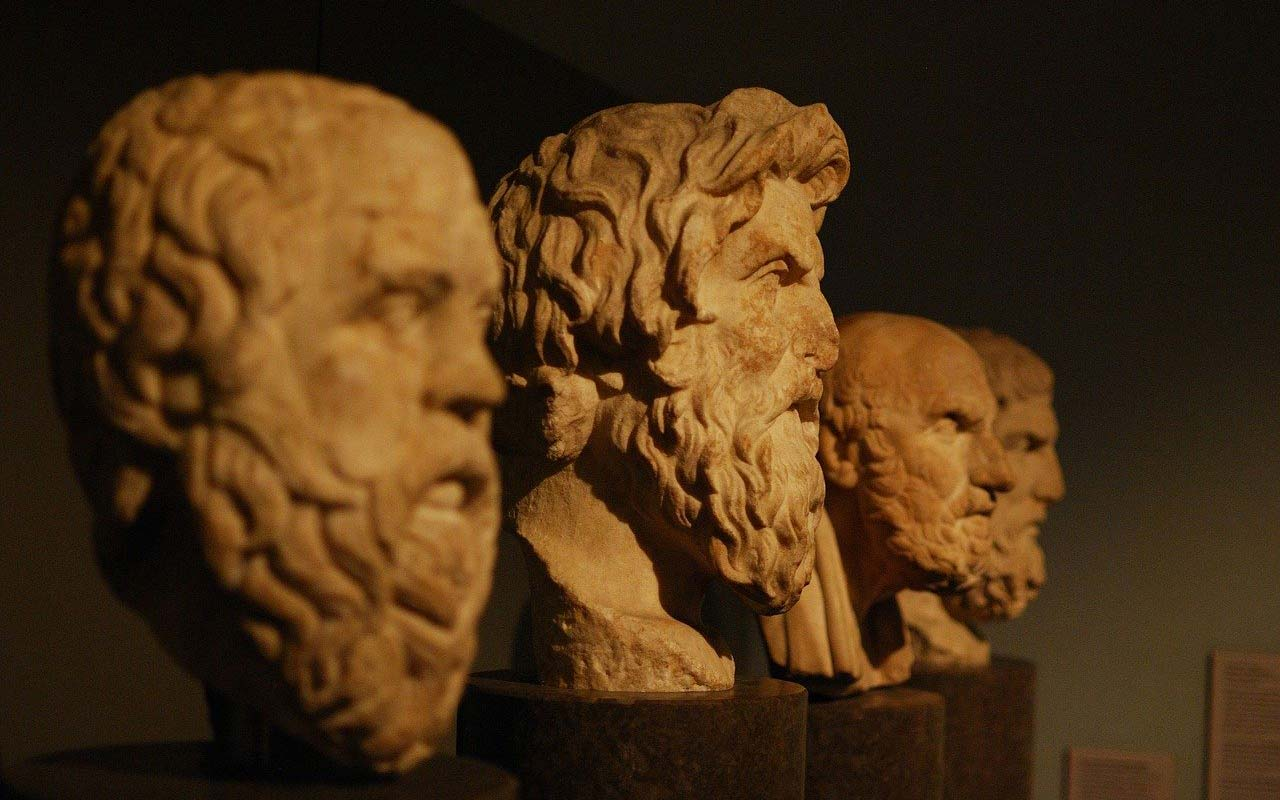 Busts of Greek philosophers. Memory-enhancing techniques were used as early as the ancient Greeks and Romans.